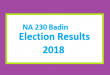 NA 230 Badin Election Result 2018 - PMLN PTI PPP Candidate Votes Live Update