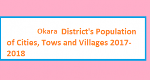 Okara District's Population of Cities, Tows and Villages 2017-2018
