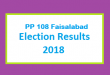 PP 108 Faisalabad Election Result 2018 - PMLN PTI PPP Candidate Votes Live Update