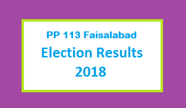 PP 113 Faisalabad Election Result 2018 - PMLN PTI PPP Candidate Votes Live Update