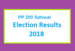 PP 200 Sahiwal Election Result 2018 - PMLN PTI PPP Candidate Votes Live Update