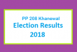 PP 208 Khanewal Election Result 2018 - PMLN PTI PPP Candidate Votes Live Update