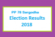 PP 78 Sargodha Election Result 2018 - PMLN PTI PPP Candidate Votes Live Update