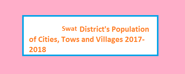 Swat District's Population of Cities, Tows and Villages 2017-2018