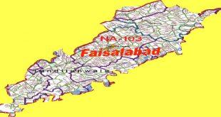 NA 103 Faisalabad Area Map of National Assembly Halqa 2018.