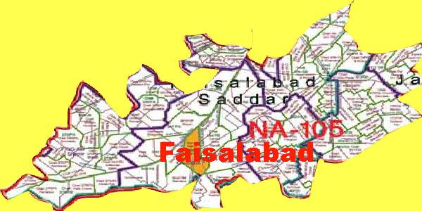 NA 105 Faisalabad Area Map of National Assembly Halqa 2018.