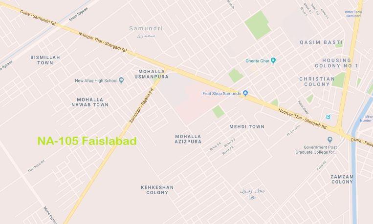 NA 105 Faisalabad Google Location Map of National Assembly Halqa 2018.