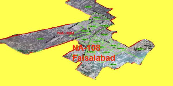 NA 108 Faisalabad Area Map of National Assembly Halqa 2018.