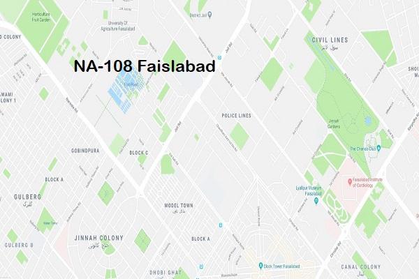 NA 108 Faisalabad Google Location Map of National Assembly Halqa 2018.