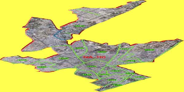 NA 110 Faisalabad Area Map of National Assembly Halqa 2018.