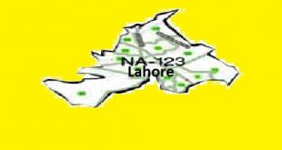 NA 123 Lahore Area Map of National Assembly Halqa 2018.
