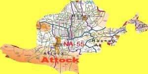 NA 55 Attock Area Location Map of National Assembly Halqa 2018.