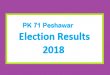PK 71 Peshawar Election Result 2018 - PMLN PTI PPP Candidate Votes Live Update