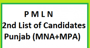 PMLN 2nd List of ticket holders-candidates names from Punjab for MNA and MPA Seats
