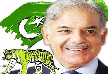 PMLN Banner - Tiger (Sher) and Shahbaz Sharif Pic