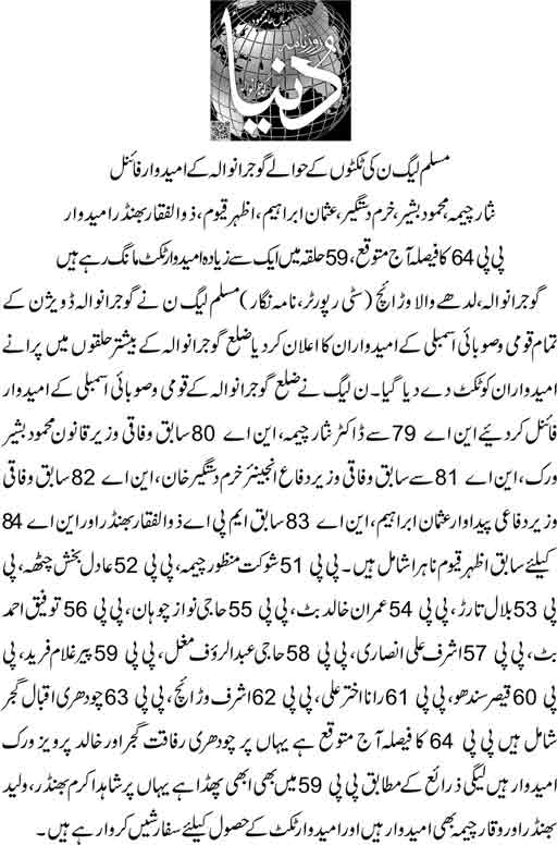 PMLN Gujranwala Ticket Holders - Candidate List Election 2018 - MNA MPA Seats