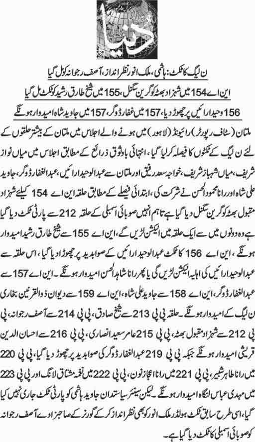 PMLN Multan Ticket Holders - Candidate List Election 2018 - MNA MPA Seats
