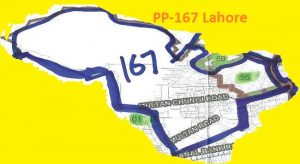 PP 167 Lahore City Area Map of Punjab Assembly Constituency (Halqa) 2018