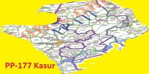 PP 177 Kasur Area Map of Punjab Assembly Constituency (Halqa) 2018