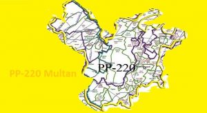 PP 220 Multan Area Map of Punjab Assembly Constituency (Halqa) 2018.
