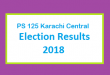 PS 125 Karachi Central Election Result 2018 - PMLN PTI PPP Candidate Votes Live Update
