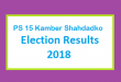 PS 15 Kamber Shahdadko Election Result 2018 - PMLN PTI PPP Candidate Votes Live Update