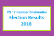 PS 17 Kamber Shahdadko Election Result 2018 - PMLN PTI PPP Candidate Votes Live Update