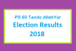 PS 60 Tando AllahYar Election Result 2018 - PMLN PTI PPP Candidate Votes Live Update