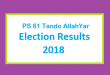 PS 61 Tando AllahYar Election Result 2018 - PMLN PTI PPP Candidate Votes Live Update