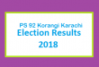 PS 92 Korangi Karachi Election Result 2018 - PMLN PTI PPP Candidate Votes Live Update