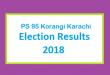 PS 95 Korangi Karachi Election Result 2018 - PMLN PTI PPP Candidate Votes Live Update