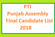 PTI Punjab Assembly Final List of Candidates and Ticket Holders Name for Election 2018 - MPA Seats
