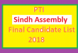 PTI Sindh Assembly Final List of Candidates and Ticket Holders Name for Election 2018 - MPA Seats