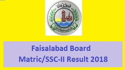 BISE Faisalabad SSC Part 2 / Matric Result 2018 - Toppers Online