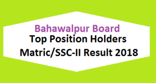 Bahawalpur Board Top Position Holders Matric SSC-II, X class Result 2018 - BISE Bwp Online Toppers Names and List
