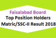 Faisalabad Board Top Position Holders Matric SSC-II, X class Result 2018 - BISE FSD Online Toppers Names and List