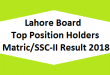 Lahore Board Top Position Holders Matric SSC-II, X class Result 2018 - BISE Lahore Online Toppers Names and List