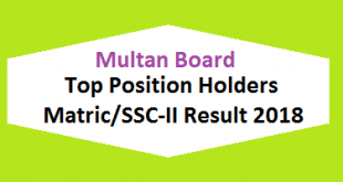 Multan Board Top Position Holders Matric SSC-II, X class Result 2018 - BISE MLN Online Toppers Names and List