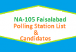 NA 105 Faisalabad Polling Station Names and List of Candidates for Election 2018