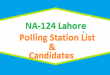 NA 124 Lahore Polling Station Names and List of Candidates for Election 2018