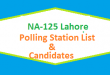 NA 125 Lahore Polling Station Names and List of Candidates for Election 2018