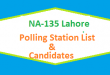 NA 135 Lahore Polling Station Names and List of Candidates for Election 2018