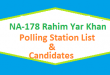 NA 178 Rahim Yar Khan Polling Station Names and List of Candidates for Election 2018