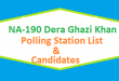 NA 190 Dera Ghazi Khan Polling Station Names and List of Candidates for Election 2018