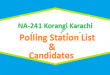 NA 241 Korangi Karachi Polling Station Names and List of Candidates for Election 2018