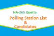 NA 265 Quetta Polling Station Names and List of Candidates for Election 2018