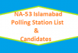 NA 53 Islamabad Polling Station Names and List of Candidates for Election 2018 - PTI Vs PMLN Vs PPP