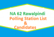 NA 62 Rawalpindi Polling Station Names and List of Candidates for Election 2018 - PTI Vs PMLN Vs PPP