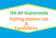 NA 84 Gujranwala Polling Station Names and List of Candidates for Election 2018