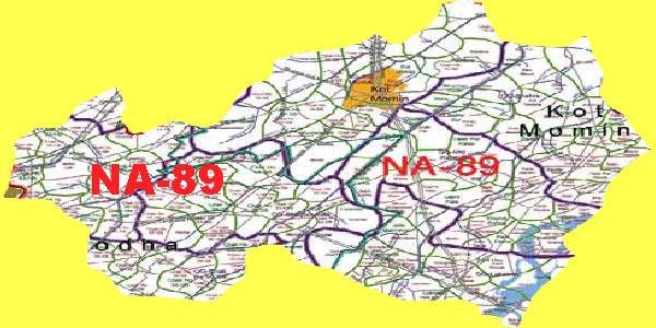 NA 89 Sargodha Area Map of National Assembly Halqa 2018.